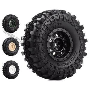 "Image 1 - 4Pcs/Set 1.9inch Rock Terrain Truck Tires&1.9"" Plastic Wheel Rim for 1:10 RC Crawler Axial SCX10 90046 AXI03007 Tamiya CC01 D90"