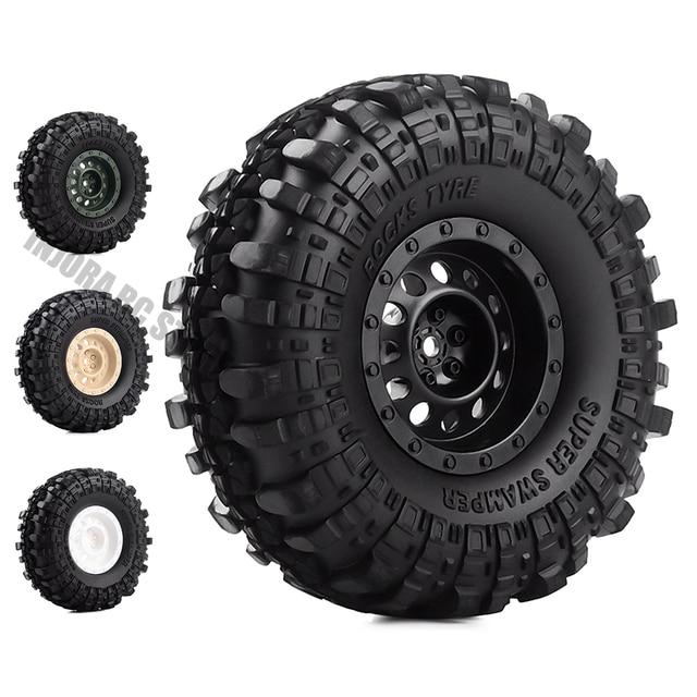 "4Pcs/Set 1.9inch Rock Terrain Truck Tires&1.9"" Plastic Wheel Rim for 1:10 RC Crawler Axial SCX10 90046 AXI03007 Tamiya CC01 D90"