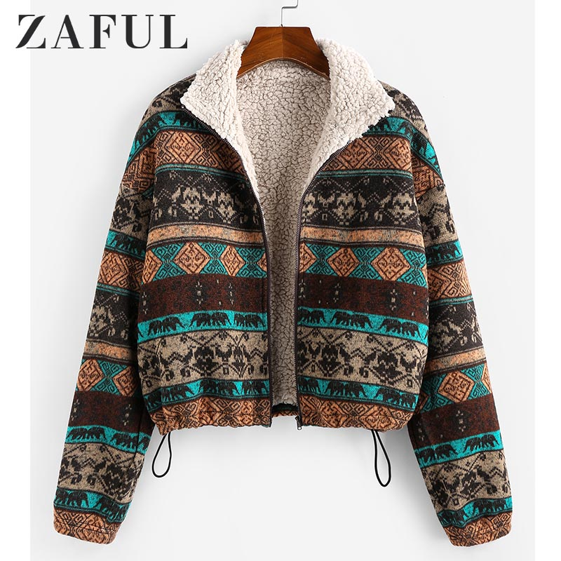 ZAFUL Tribal Print Plaid Faux Fur Lined Jacket Women High Waist Hoodies Sweatshirts Autumn Spring Vintage Jackets Coats Outwear