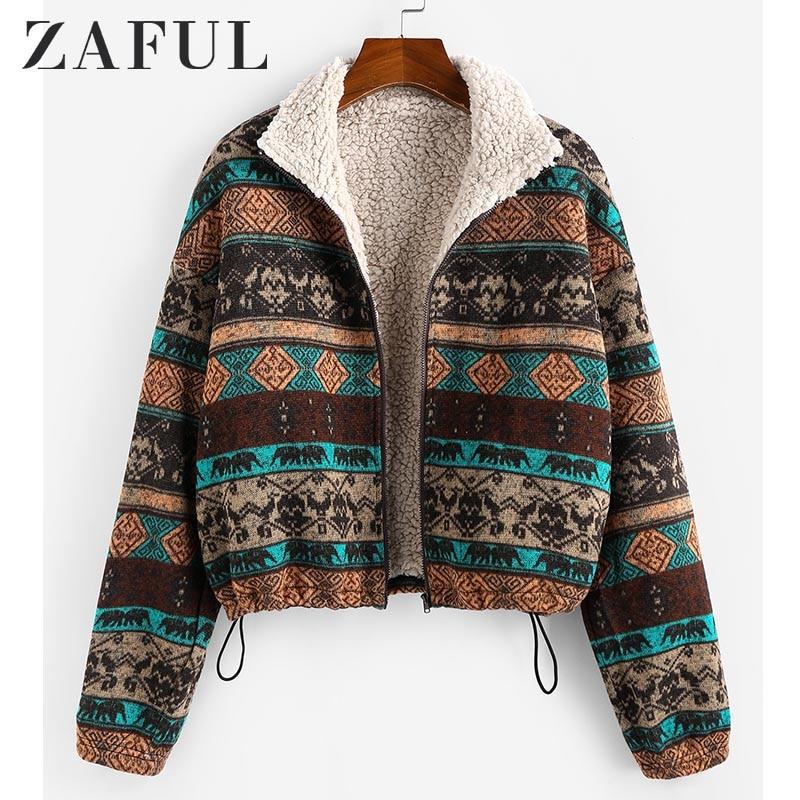 ZAFUL Tribal Print Plaid Faux Fur Lined Jacket Women High Waist Hoodies Sweatshirts Autumn Spring Vintage Jackets Coats Outwear