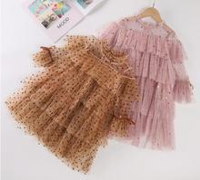 Для девочек на весну, платье 2021; Платье с длинными рукавами для девочек одежда принцессы из сетчатого материала; Модная одежда на осень одно...