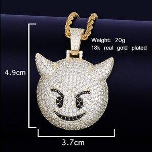 Image 2 - Collier et pendentif, démon Expression maléfique, avec chaîne de Tennis couleur or Zircon brillant, mode Hip hop Rock Street, bijoux