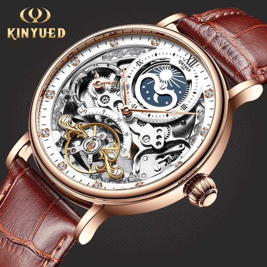 Kinyued esqueleto relógios mecânicos relógio automático masculino