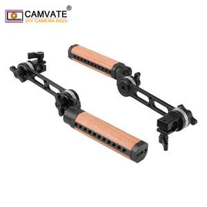 Image 5 - CAMVATE 2 adet kamera ayarlanabilir ahşap kolu kavrama ile ARRI rozet M6 montaj dişi ve 15mm tek çubuk kelepçe uzatma kolu