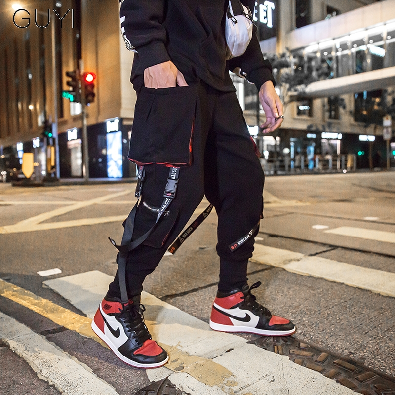 Letter Ribbons Casual Hip Hop Joggers Cargo Pants For Men Tactical Pockets Pants Male Trousers Fashion Sport Track Streetwear