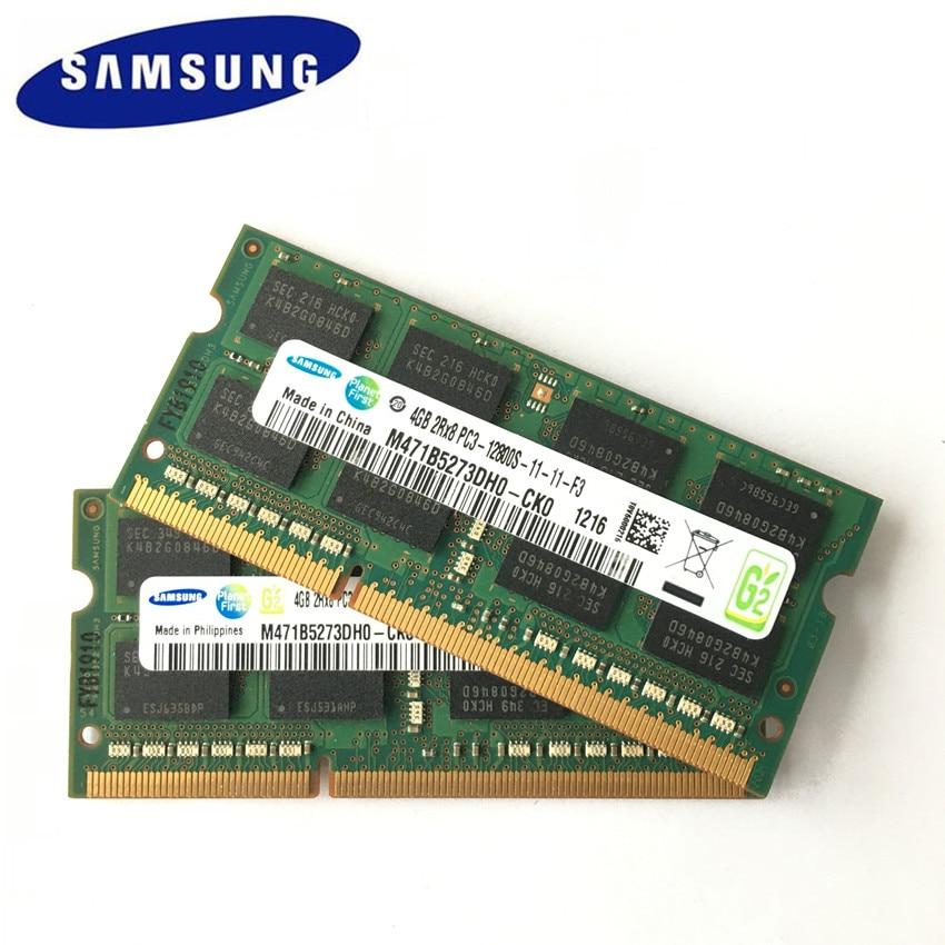 Samsung 4gb 2rx8 pc3 12800 s ddr3 1600 mhz 4gb portátil memória notebook módulo sodimm ram sec chipset frete grátis