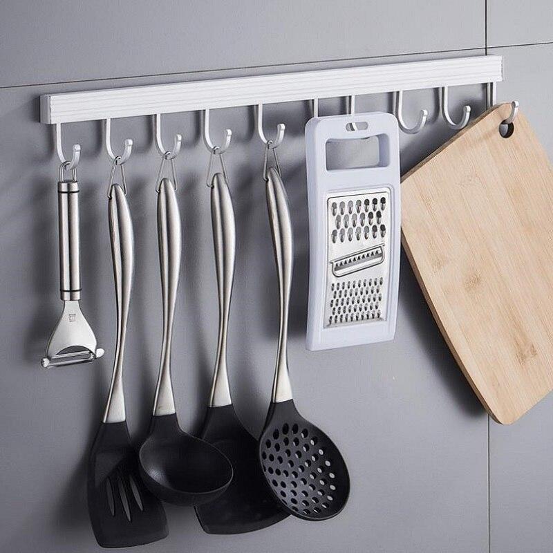 Aluminum Towel Hook Bathroom Kitchen Wall Hanging Door Back Row Hook Coat Hanger Free Punch
