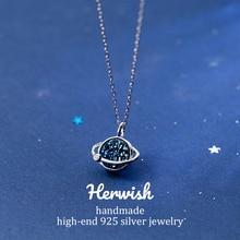 Herwish הנסיך הקטן B612 אסטרואיד כחול כוכב כניסת יוקרה שרשראות תליוני קריסטל שרשרת אופנה נשים תכשיטים