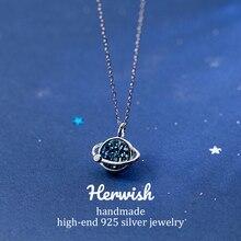 Herwish Der Kleine Prinz B612 Asteroid Blue Planet Eintrag Luxus Halsketten Anhänger Kristall Halskette Mode Frauen Schmuck