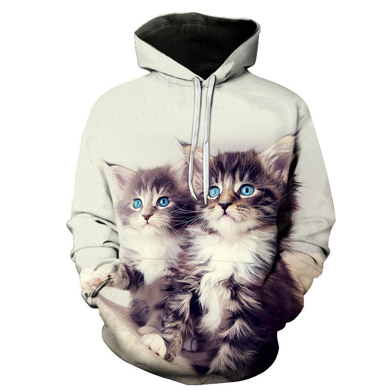 Women's Two Cat Sweatshirts Long Sleeve 3D Hoodies Sweatshirt Pullover Tops Blouse Pullover Hoodie Poleron Mujer Confidante Tops