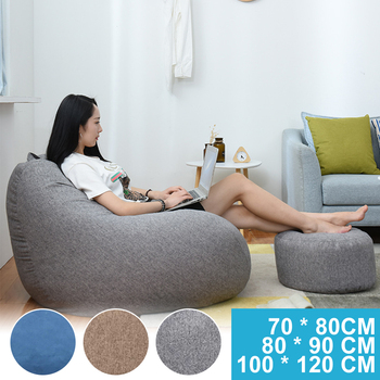 NEW Large Small Lazy Sofas Cover Chairs without Filler Linen Cloth Lounger Seat Bean Bag Pouf Puff Couch Tatami Living Room - discount item  48% OFF Home Furniture