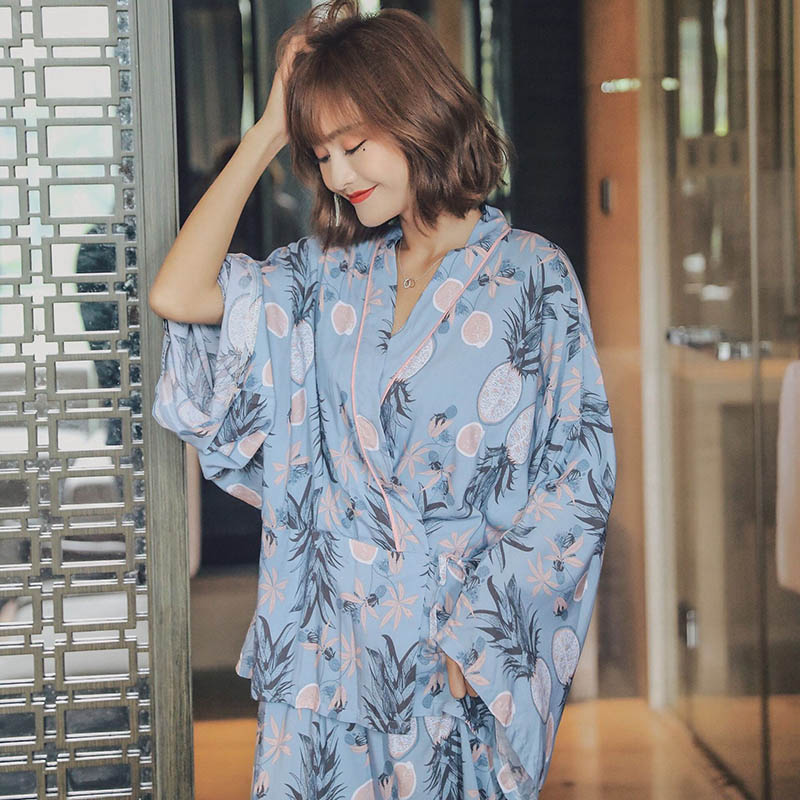 Ladies Fresh Style Pineapple Printed Pajamas Set Loose Wide Sleeve Kimono Style Sleepwear Set Women Thin Homewear For Spring