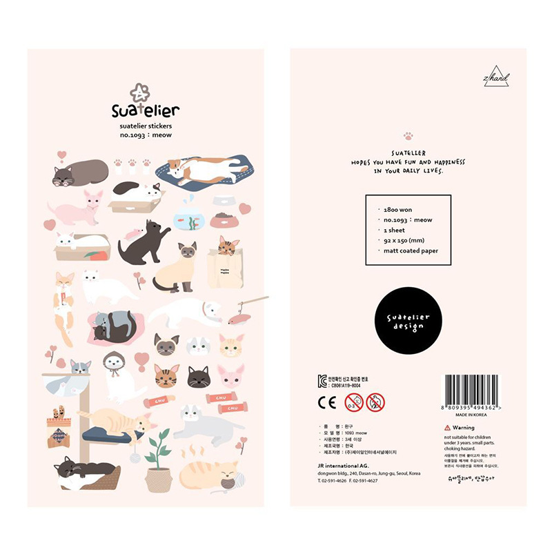 Cute Cat Meow Bullet Journal Decorative Stickers Scrapbooking Stick Label Diary Album Kawaii Korean Stationery Stickers
