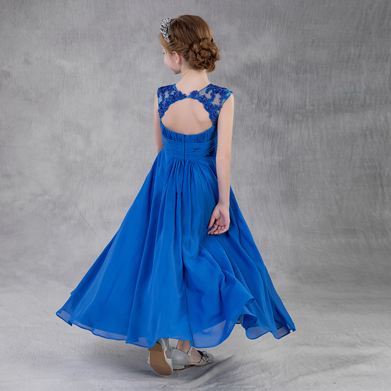 Girls Evening Dress Princess Dress Children Concert Piano Performance Formal Dress Long Lace Stage Performance Dress