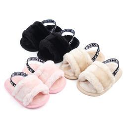 Сандалии для новорожденных девочек; сезон осень-зима; 3 стиля; меховая однотонная обувь на плоской подошве; обувь для малышей 0-18 месяцев