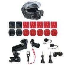Suporte fixo de queixo de capacete de moto, ajustável, para câmera de ação gopro hero 8 7 6 5 yi4k insta360 h9 sjcam conjunto de acessórios