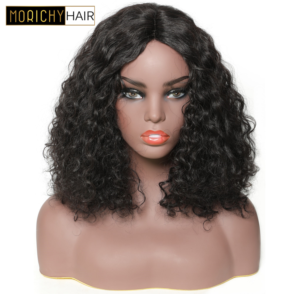 Morichy Bob Culry Wigs For Black Women With Lace Part Non Remy Brazilian Human Hair Wigs Middle Part Natural Color