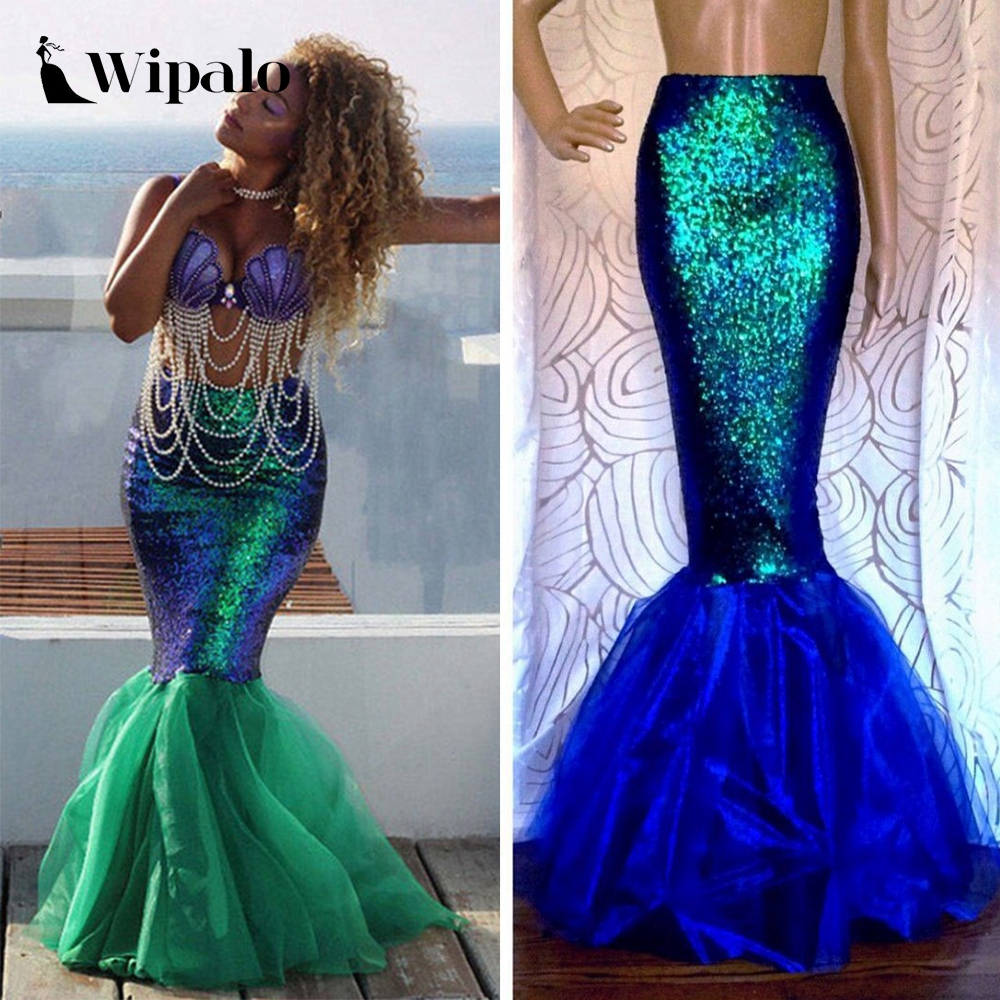 Wipalo Sexy Mermaid Womens Adult Costume Halloween Costume Fancy Party Sequins Long Tail Full Skirt Maxi Dress Women Clothes