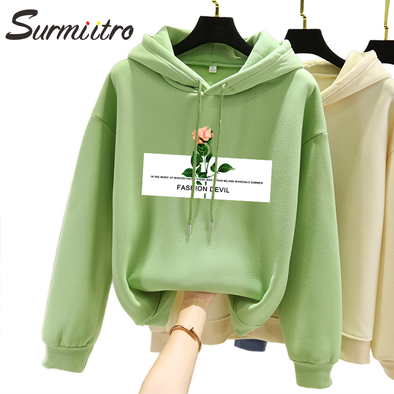 Surmiitro Plus Size Warm Hoodies Women Autumn Winter 2019 Korean Kpop Ladies Long Sleeve Hooded Sweatshirt Female Pullover