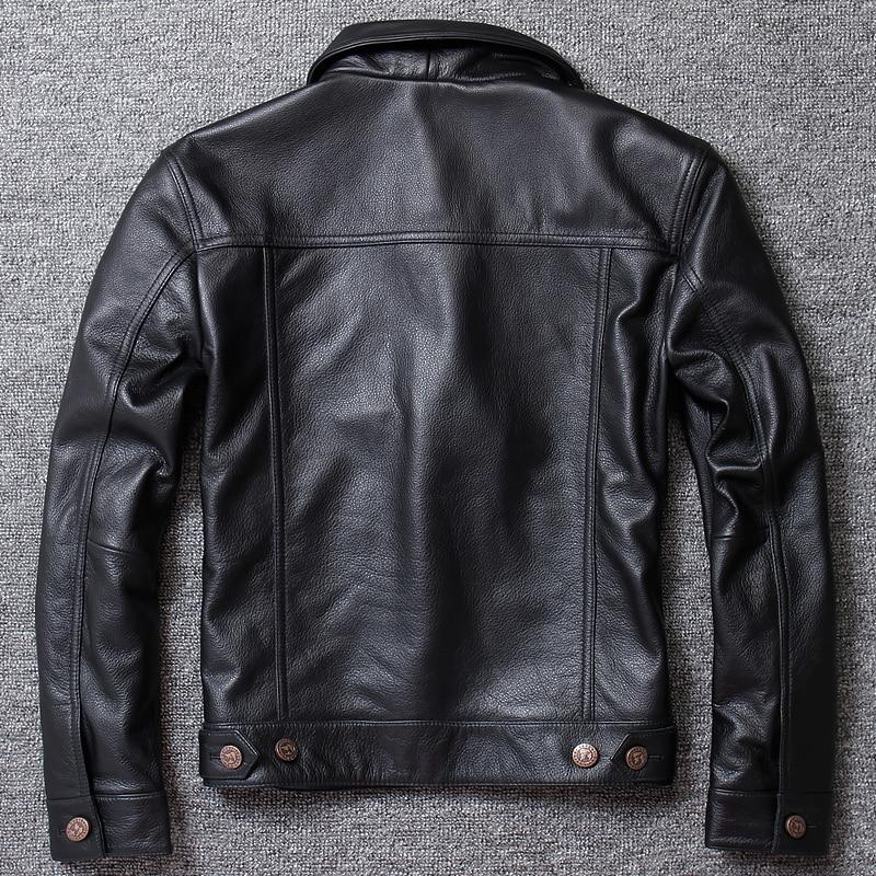 Genuine Cow Leather Jacket Men Real Cowhide Leather Coats Single Breasted Short Coat Chaqueta Cuero Hombre U1213 KJ1450