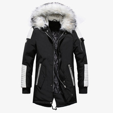 цены Men Winter Jacket Warm Coat Men's Long Coat Thick Jackets Large Fur Collar Coats M,L,XL,XXL,XXXL Streetwear Hoodie European Size