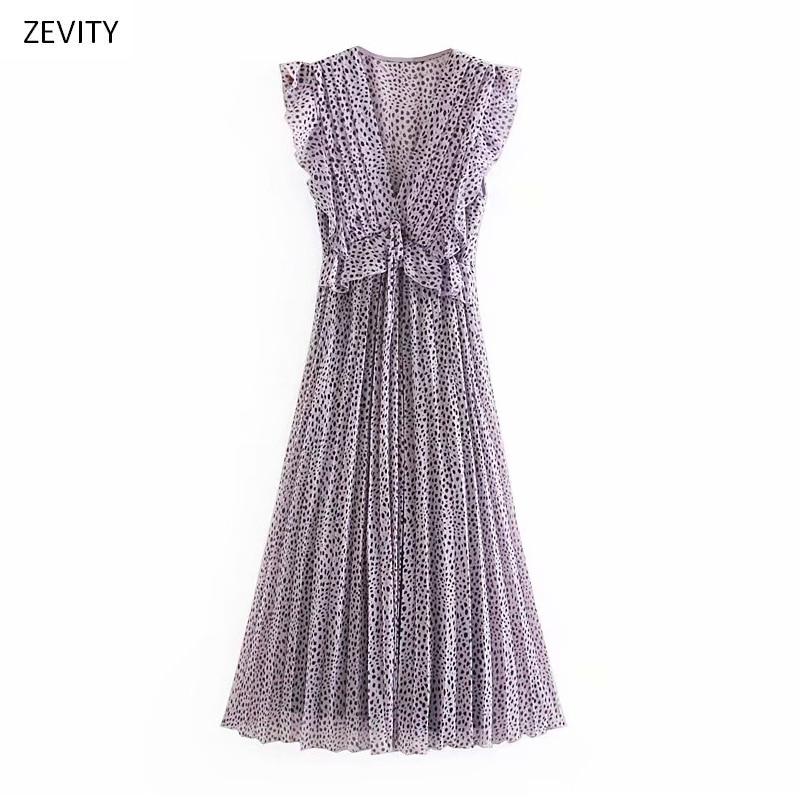 2020 women vintage v neck leopard print press ruffles midi dress female sleeveless chiffon vestidos chic pleated dresses DS3913