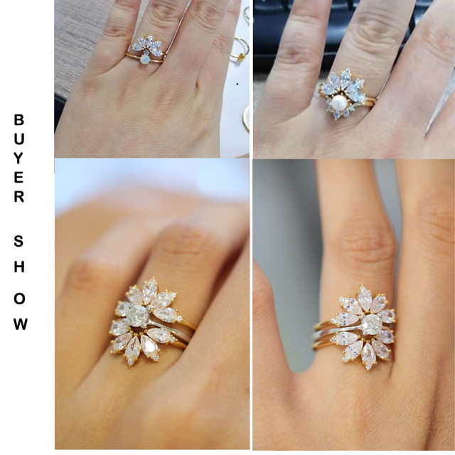 Dropshipping  925 Sterling Silver Rings For Women 5A Zircon Diamond Gemstones Real Gold Plated Designer jewelry Stackable Rings 3