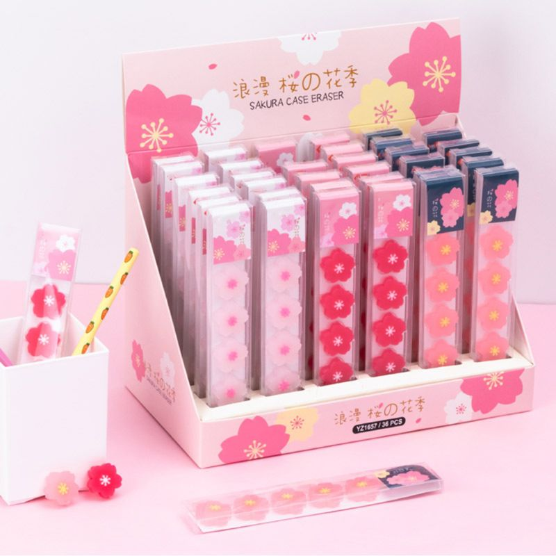 6 Pcs/pack Cherry Blossoms Rubber Erasers Sakura Students Pencil Correction Tool School Office Supply Stationary
