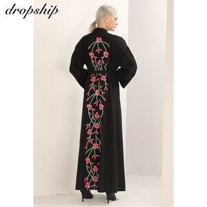 Image 4 - Dropship 2019 שמלת נשים שמלות זול מכירה מקסי ארוך בציר Vestidos Verano Robe Femme מוסלמי Boho רקמת Loose O צוואר