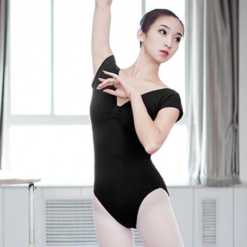 Dorosły gimnastyczny trykot elastan czarny fioletowy balet z krótkim rękawem s dla kobiet kostiumy do tańca Dancewear