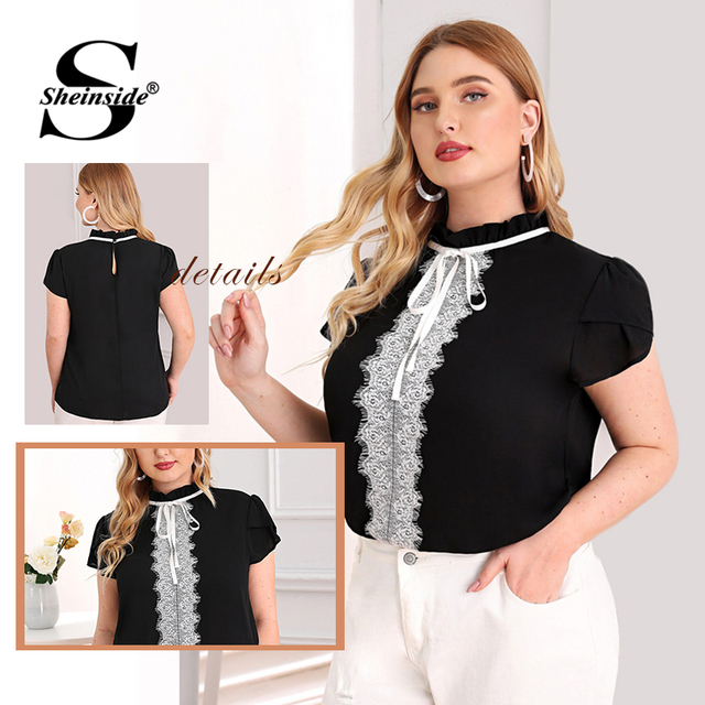 Sheinside Plus Size Elegant Contrast Lace Trim Blouse Women 2019 Summer Petal Sleeve Blouses Ladies Lace Up Frilled Neck Top 5
