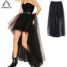 TOPMELON Falda Punk para mujer, falda de tul gótica para mujer, falda larga Steampunk de verano, vestido de baile, faldas negras de malla para espectáculos de baile y fiesta