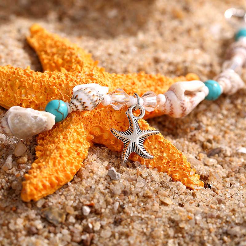 """Ракушка раковины ножной браслет """"Морская звезда"""" женский пляжный ножной браслет ручной работы браслет на ногу богемные лодыжки браслет народные ювелирные изделия на заказ сандалии подарок"""
