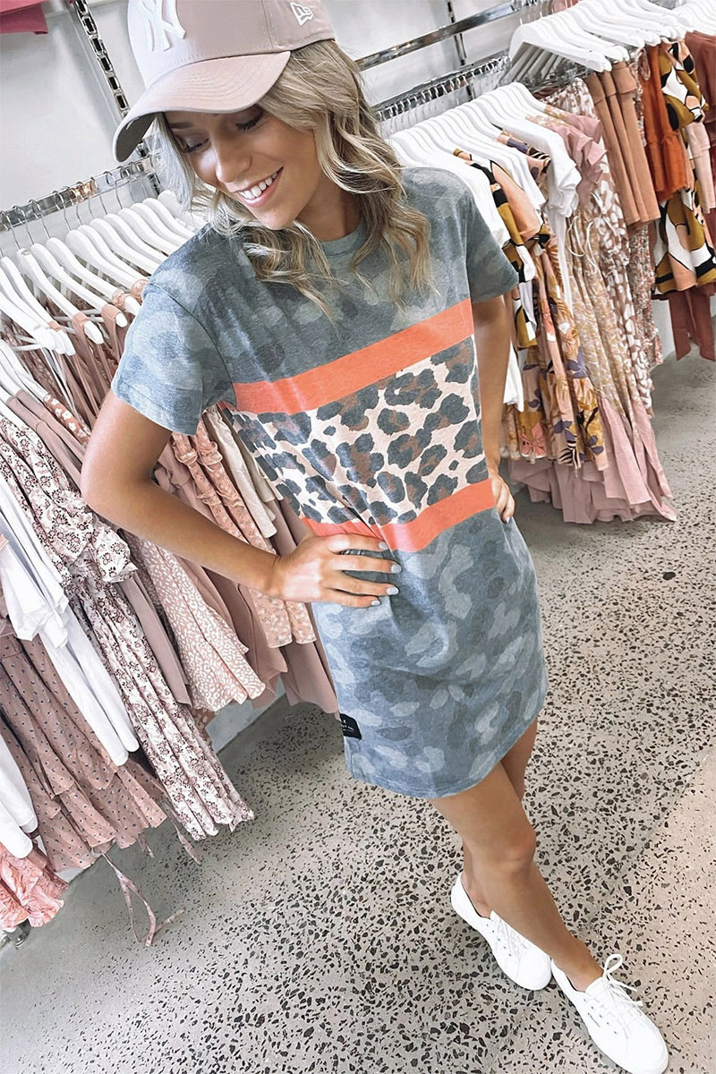 Casual Loose Leopard Camouflage Printed Short <font><b>Dress</b></font> 2020 Fashion O Neck Short Sleeve Funny <font><b>Tshirt</b></font> <font><b>Dress</b></font> Summer <font><b>Graphic</b></font> Long Tops image