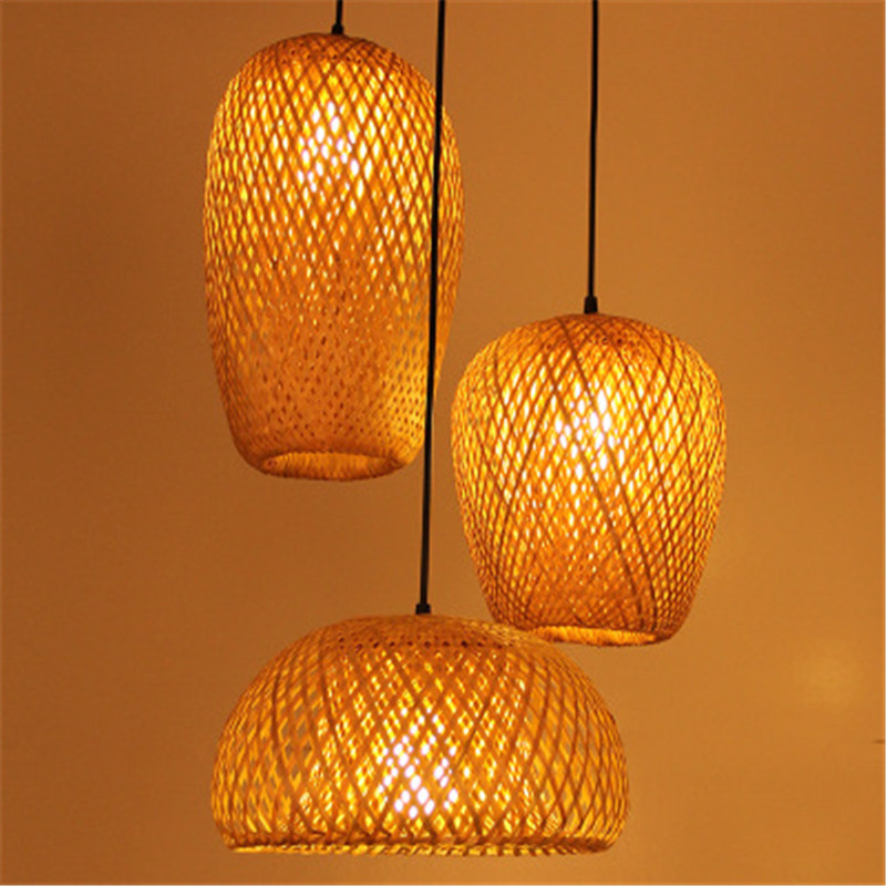 Southeast Asia Creative Bamboo Art Rattan Bamboo Lantern Chandelier Diner Room Tea House Club Living Room Art Bamboo Lamp