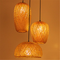 Southeast Asia Creative Bamboo Art Rattan Bamboo Lantern Chandelier Diner Room Tea House Club Living Room Art Bamboo Lamp