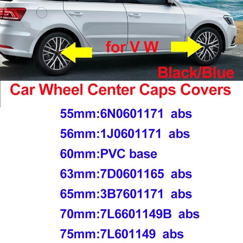 สำหรับ Passat B6 B7 CC MK5 MK6 Tiguan สีฟ้า/สีดำ 75 มม.70 มม.65 มม.63 มม.60 มม.56 มม.55 มม.ล้อรถครอบคลุมศูนย์ล้อรถ Hub HUB หมวก