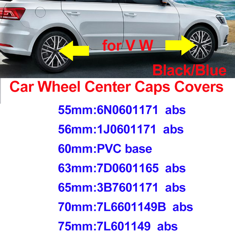For Passat B6 B7 CC MK5 MK6 Tiguan Blue Black 75mm 70mm 65mm 63mm 60mm 56mm 55mm Car Rims Covers Car Wheel Center Hub Caps
