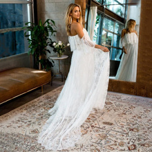 Maternity Photography Prop Dresses Shoulderless Lace Long Floor-length Dress Bohemian Summer Beach White Party Sexy Dresses