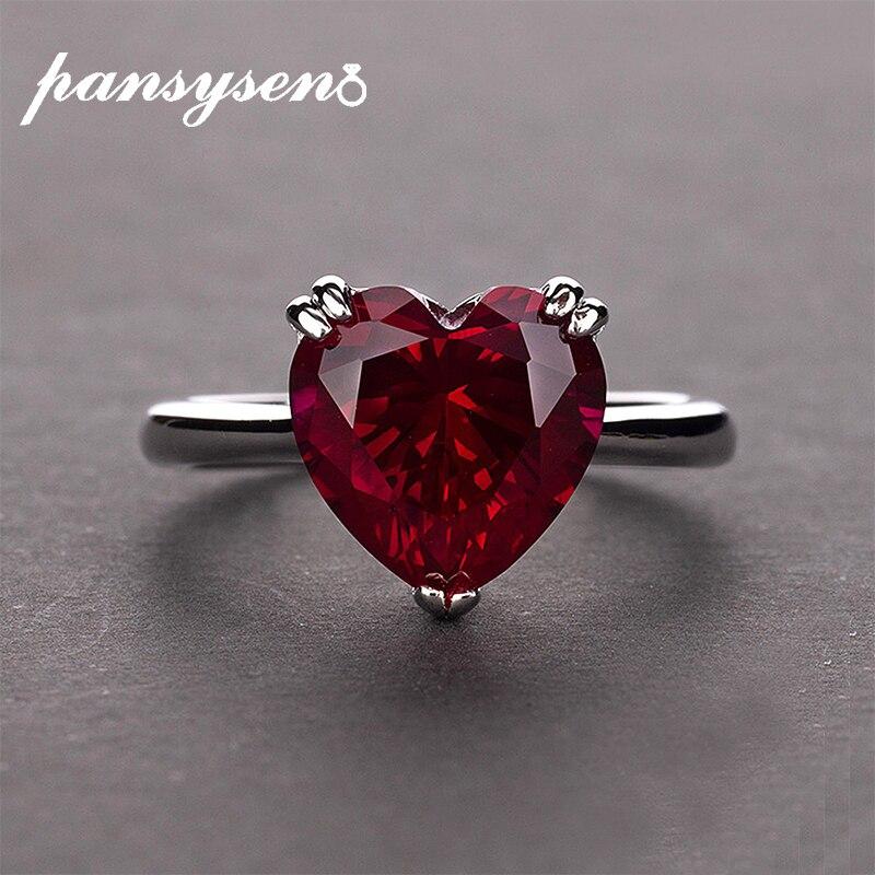 Peigen Women Rings Shinning Natural Crystal Ruby Diamond Engagement Wedding Bridal Ring Bands