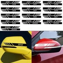 Espelho Retrovisor do carro PVC DIY Adesivos Decalque Para Peugeot 206 207 208 306 307 308 508 106 107 108 2008 3008 5008 Acessórios