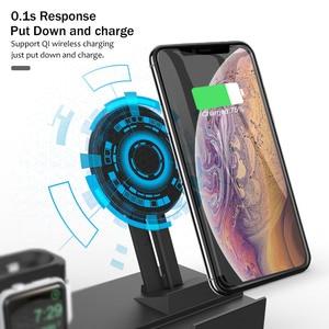 Image 3 - 8 em 1 10 w estação de carregador sem fio qi para iphone xr xs max airpods 2019 apple assista 4 3 rápido apple doca carregamento para samsung