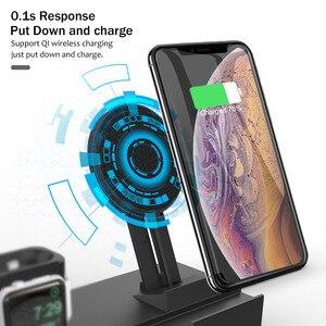 Image 3 - 8 in 1 10W QI Draadloze Oplader Station Voor iPhone XR XS Max Airpods 2019 Apple Horloge 4 3 snelle Apple Opladen Dock Voor Samsung