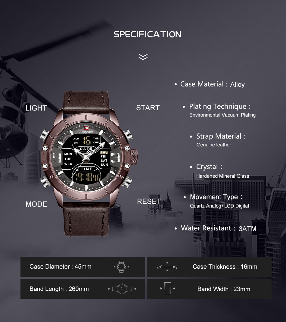 NAVIFORCE Mens Watches Top Brand Luxury Army Military Leather Mens Wristwatch Waterproof Digital Quartz Sports Watches Relogio (3)