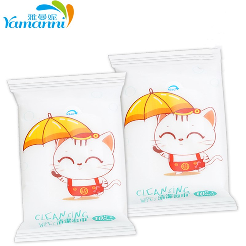 100PS/10packs Mini Portable Face Care Cotton Towel Baby Adult Disposable Cleaning Tissue Wet Wipes For Outdoor Travel Health