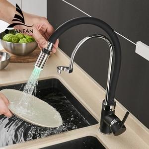 Image 5 - Кухонный смеситель, светодиодный светильник, смеситель для раковины, латунь, матовый никель, Torneira Tap, кухонные краны, горячий и холодный смеситель для ванны 7661