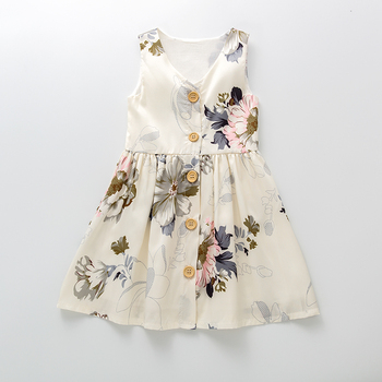 floral girls dress children princess dresses kids sailor collar a line preppy style school clothing high quality for 4y 12y 2020 Kids Clothing Toddler Girls Floral Print Button Front A-line Dress Girls Dresses Knee-Length