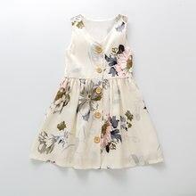 Детская одежда 2020 платье трапеция с принтом и пуговицами спереди