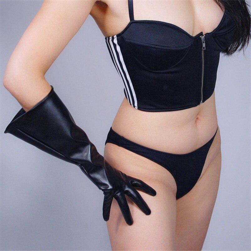 38cm Touchscreen Long Gloves Big Sleeve Wide Cuff Lantern Sleeve Puff Sleeve Emulation Leather Black Male Female  WPU134