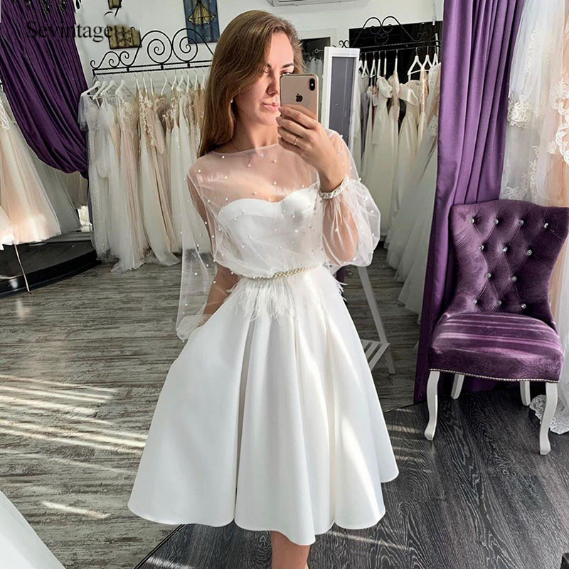 Sevintage Cheap Satin Short Wedding Dress Boho 2 Pieces Knee Length Pearls Bridal Gowns Puff Long Sleeve Vestido De Noiva 2020